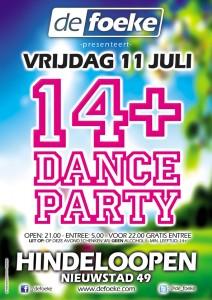 Vrijdag 11 Juli - 14+ Dance Party - De Foeke - Hindeloopen