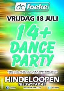 Vrijdag 18 Juli - 14+ Dance Party - De Foeke - Hindeloopen