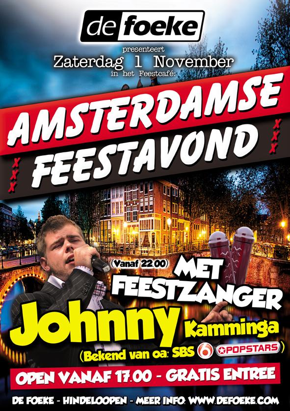 Zaterdag 1 November Amsterdamse Avond met Johnny Kamminga in Feestcafe De Foeke te Hindeloopen