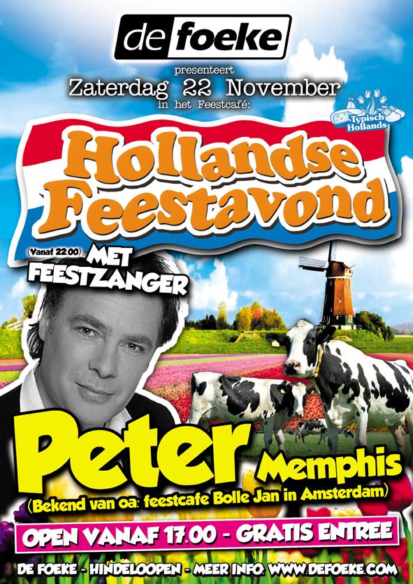 Zaterdag 22 November - Hollandse Feestavond met Peter Memphis - De Foeke - Hindeloopen