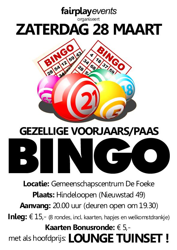 Zaterdag 28 Maart - Paas Bingo - De Foeke - Hindeloopen