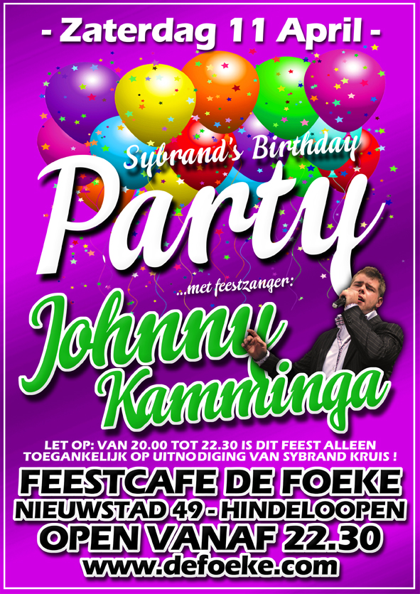 Zaterdag 11 April: Sybrand's Birthday Party