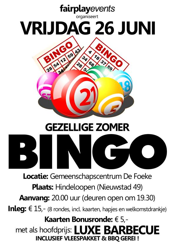 Vrijdag 26 Juni - Zomer Bingo - De Foeke - Hindeloopen