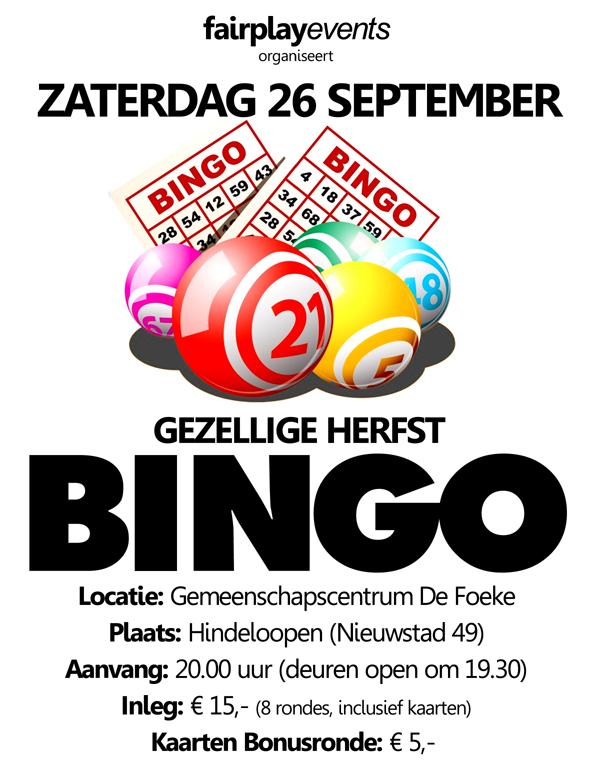 Zaterdag 26 September - Herfstbingo - De Foeke - Hindeloopen