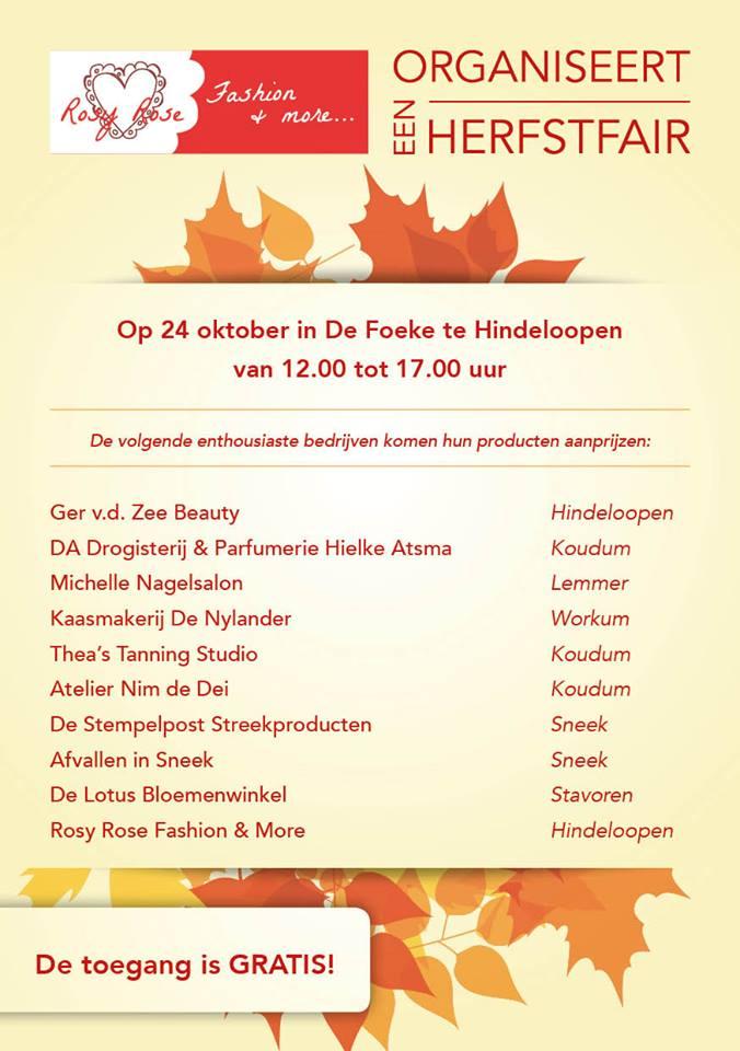 Zaterdag 24 Oktober - Herfstfair - De Foeke - Hindeloopen
