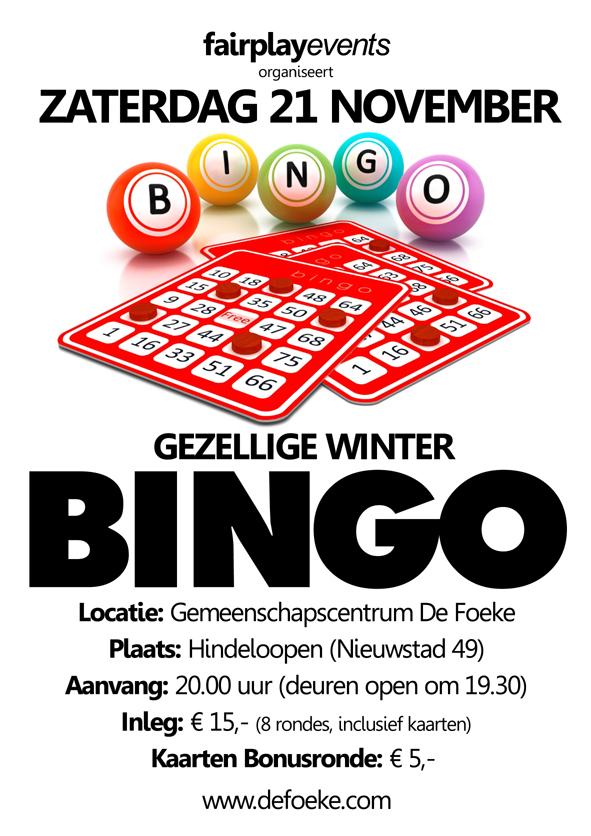 Zaterdag 21 November - Bingo - De Foeke - Hindeloopen